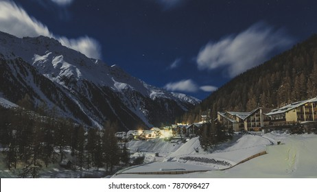 Beautiful night scenery of popular ski resort Solda (Sulden), candid vintage photography
