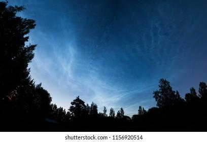 Beautiful night shining clouds panorama