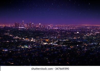 Beautiful night sky, cityscape view of Los Angeles