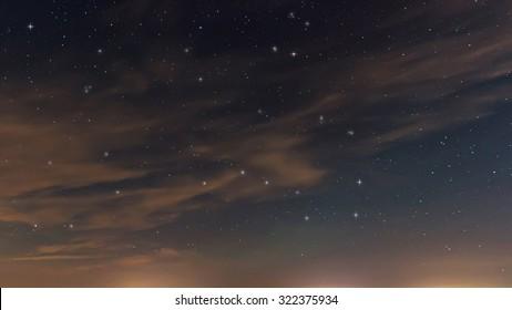 Beautiful night sky, with clouds and constellations, Hercules, Draco, Ursa Major, Ursa Minor, Big Dipper, Botes. Starry night.