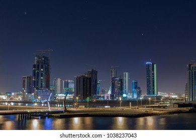 The beautiful night sky covers the development of new skyscrapers