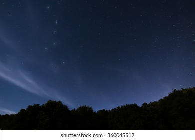 Beautiful night sky Full of stars with the constellation Ursa Major Amazingly peaceful photo of the night sky above silhouetted trees.
