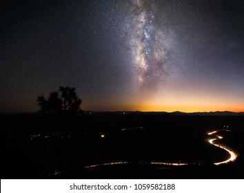 Beautiful night sky landscape with the milky way in the backdrop. Mogollon Rim, Payson, Arizona