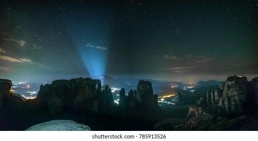 Beautiful Night Sky over Famous Meteora in Greece