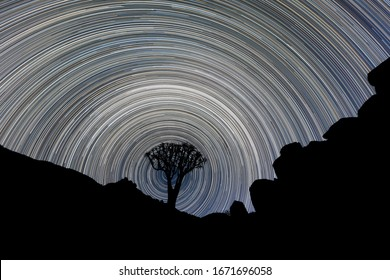 A beautiful night sky photograph of a silhouetted Quiver Tree framed by rocky mountains, with circular star trails creating a vortex around the tree, in the Richtersveld National Park, South Africa.