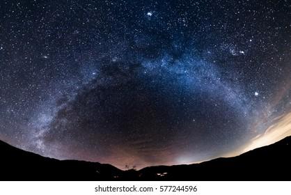Beautiful night sky with winter Milky Way