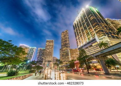 Beautiful night skyline of Miami - Florida.