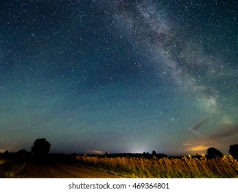 Beautiful night starry sky with Milky way over a wheat field. Astro photography.