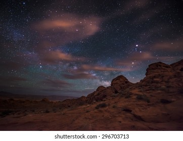 Beautiful Night Starry sky with Rising Milky Way over the Valley of Fire State Park Nevada