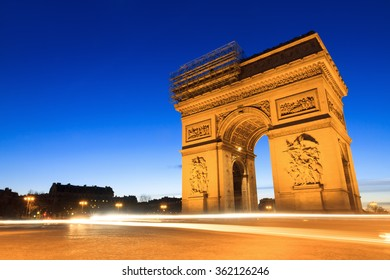 Beautiful night view of the Arc de Triomphe in Paris, France