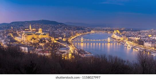 Beautiful night view of Budapest from Gellert hill, Hungary