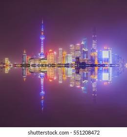 The beautiful night view of the Bund, Shanghai
