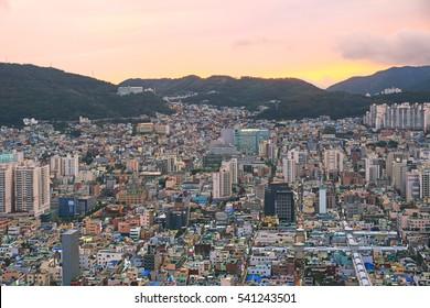 beautiful night view of Busan harbour, Korea
