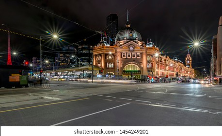 Beautiful night view of Flinders Street and Railway Station, Melbourne, Australia