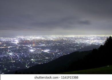 """Beautiful night view of Gifu city from """"IKEDA mountain"""" in Gifu Prefecture, Japan. Aug. 19, 2018."""