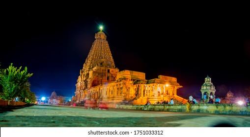 beautiful night view of the great Indian temple, Brihadisvara Temple. Big temple, tanjore, tamilnadu, india, asia