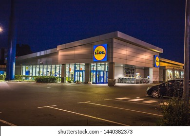 Beautiful  night view of Lidl supermarket and logo.Lidl  is a German global discount supermarket chain,operating in 26 European countries and the United States.Burgas Bulgaria,June 29 2019