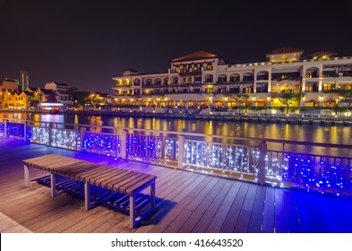 Beautiful night view at Malacca riverside. Malacca City is the capital city of the Malaysian state of Malacca. It was listed as a UNESCO World Heritage Site on 7 July 2008