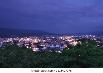 "Beautiful night view of Matsumoto cityscape from ""Jouyama Park"" in NAGANO Prefecture, Japan. June 9, 2018."