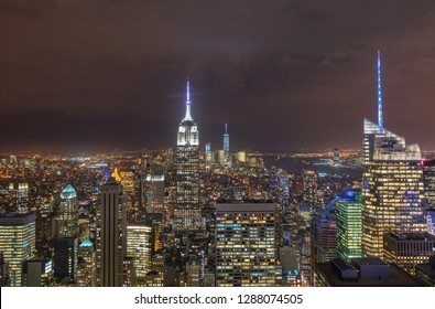 Beautiful night view of Midtown Manhattan from Rockefeller Observatory - Top of the Rock  - New York, USA