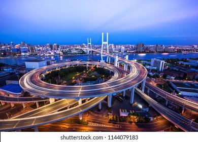 Beautiful night view of Nanpu Bridge in Shanghai, China