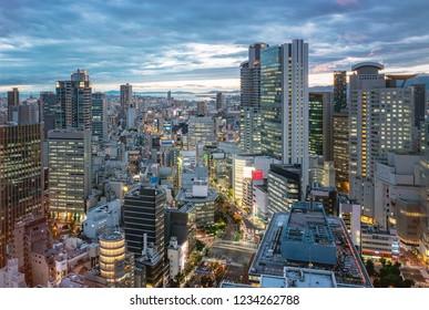 Beautiful night view of the Osaka downtown
