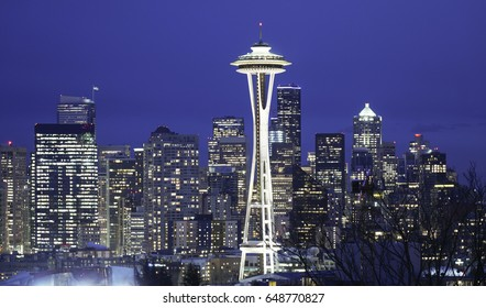 Beautiful night view over Seattle and its famous landmark Space Needle - SEATTLE / WASHINGTON - APRIL 11, 2017