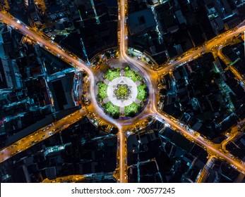 Beautiful night view road roundabout circle with long exposure. Bird Eye view
