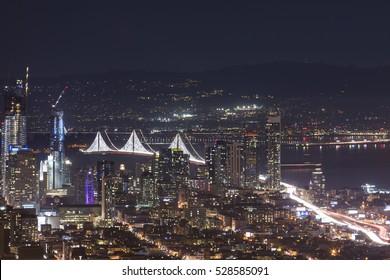 Beautiful night view in San Francisco from Twin Peaks, San Francisco, California.