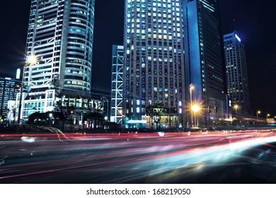 beautiful night view of shanghai finance and trade zone