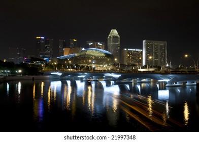 beautiful night view of Singapore buildings