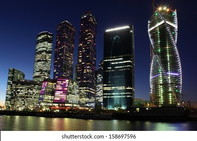 Beautiful night view Skyscrapers City international business centr, Moscow, Russia