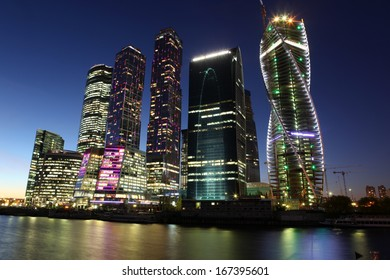 Beautiful night view Skyscrapers City international business center with Moskva river, Russia Moscow