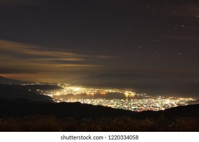 "Beautiful night view of Suwa city from ""Takabocchi"" in Nagano Prefecture, Japan. Nov. 3, 2018"