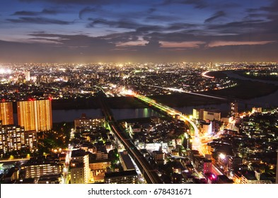 """A beautiful night view of Tokyo from """"I-LinkTown observation facility""""?46F observation deck? in Ichikawa city, Chiba prefecture. Jul 15, 2017."""