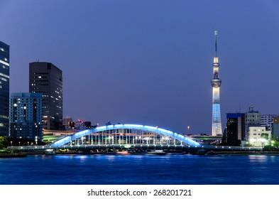 Beautiful night view of Tokyo skyline and Sumida River