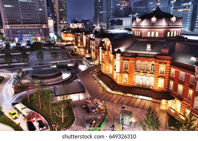 Beautiful night view of Tokyo station.  May 28, 2017.