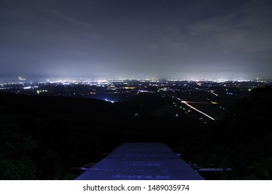 "Beautiful night view of Tsuchiura city from ""Omote Tsukuba Skyline"" in Ibaraki Prefecture, Japan. Aug. 25, 2019."