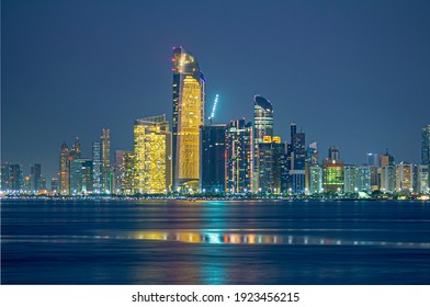 Beautiful nightlight and skyline in Abu Dhabi at night.
