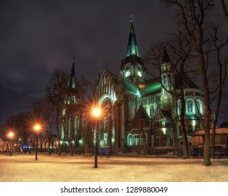 Beautiful nightscape of neo-gothic Church of Sts. Olha and Elizabeth in Lviv, Ukraine. The church was built in 1903-1911 and dedicated to memory of Empress Elisabeth of Austria (nicknamed 'Sisi')