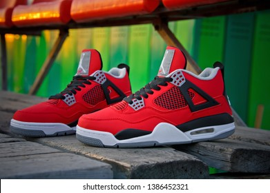 336435ea962 Beautiful Nike Air Jordan 4 Retro basketball shoes in fire red, cement grey  and black