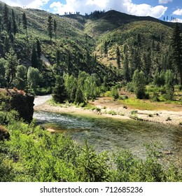 Beautiful North fork of the Boise River on a bend