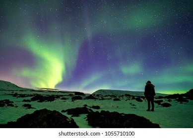 Beautiful northern lights ( aurora borealis ) in north Iceland