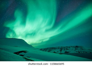 Beautiful Northern Lights green photographed in Iceland in February