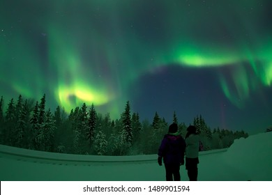 The beautiful Northern Lights over the Finnish nature in Lapland