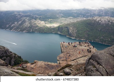 Beautiful norwegian fjord with chilling view