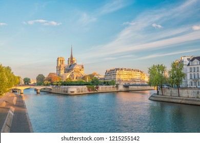 The beautiful Notre Dame de Paris in France at sunrise