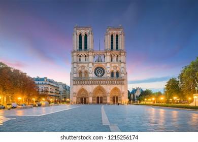 The beautiful Notre Dame de Paris in France at twilight