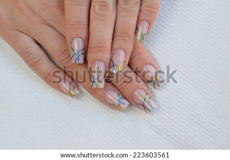 Beautiful Nude Nail Art Design Rainbow Stock Photo Edit Now