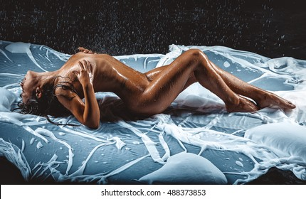 beautiful nude woman in aqua